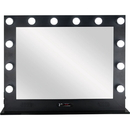 Ver Beauty VL004-112 Black 12 Dimmable LED Light Metal Body and Glass Base Hollywood XL Vanity Mirror with Bluetooth, USB, Speakers and MP3 - VL004