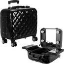 Ver Beauty Black Quilted Professional Travel 4-Wheels Rolling Makeup Studio Case with LED Lights, Mirror, Trays & TSA Accepted Locks - VL7201