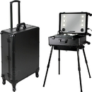 Ver Beauty VLR003-22 Black Matte Professional Rolling Studio Makeup Case with Touchscreen Power 3 Temp LED Lights, Multimedia, Speakers, Legs & Mirror - VLR003