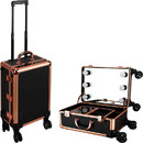 Ver Beauty VLR004-71 Black Dot Rose Gold Trimming Professional Rolling Makeup Studio Case with LED Lights & Mirror - VLR004