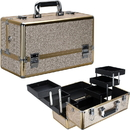 Ver Beauty VP001-511 Champagne Glitter 6-Tiers Accordion Trays Professional Cosmetic Makeup Train Case - VP001