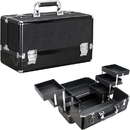 Ver Beauty VP001-51 Black Glitter 6-Tiers Accordion Trays Professional Cosmetic Makeup Train Case - VP001