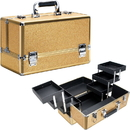 Ver Beauty VP001-57 Gold Glitter 6-Tiers Accordion Trays Professional Cosmetic Makeup Train Case - VP001