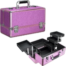 Ver Beauty VP001-59 Magenta Glitter 6-Tiers Accordion Trays Professional Cosmetic Makeup Train Case - VP001
