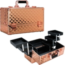 Ver Beauty VP001-85 VP001- Rose Gold Diamond 6-Tiers Accordion Trays Professional Cosmetic Makeup Train Case - VP001