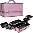 Ver Beauty VP002-43 Pink Krystal Pattern 3-Tiers Accordion Trays Professional Cosmetic Makeup Train Case with Two Brush Holder - VP002