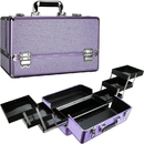 Ver Beauty VP002-48 Purple Krystal 6-Tiers Accordion Easy Slide Trays Professional Cosmetic Makeup Train Case with Two Brush Holder - VP002