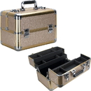 Ver Beauty VP006-511 Champagne Glitter 4 Extendable Trays Professional Cosmetic Makeup Case with Dividers - VP006