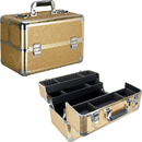 Ver Beauty VP006-57 Gold Glitter 4 Extendable Trays Professional Cosmetic Makeup Case with Dividers - VP006