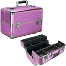 Ver Beauty VP006-59 Magenta Glitter 4 Extendable Trays Professional Cosmetic Makeup Case with Dividers - VP006