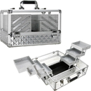 Ver Beauty VP016-84 Siver Diamond Armored Acrylic 6-Tiers Accordion Trays Professional Cosmetic Makeup Train Case - VP016