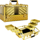 Ver Beauty VP016-87 Gold Diamond Armored Acrylic 6-Tiers Accordion Trays Professional Cosmetic Makeup Train Case - VP016