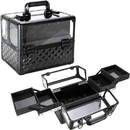 Ver Beauty VP017-82 Black Diamond Armored Acrylic 4-Tiers Accordion Trays Professional Cosmetic Makeup Nail Artistry Train Case - VP017