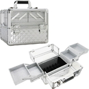 Ver Beauty VP017-84 Silver Diamond Armored Acrylic 4-Tiers Accordion Trays Professional Cosmetic Makeup Nail Artistry Train Case - VP017