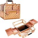 Ver Beauty VP017-85 Rose Gold Diamond Armored Acrylic 4-Tiers Accordion Trays Professional Cosmetic Makeup Nail Artistry Train Case - VP017