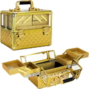 Ver Beauty VP017-87 Gold Diamond Armored Acrylic 4-Tiers Accordion Trays Professional Cosmetic Makeup Nail Artistry Train Case - VP017