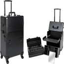 Ver Beauty VT002-22 Black Smooth Pattern 4-Wheels Professional Rolling Aluminum Cosmetic Makeup Case and Easy-Slide & Extendable Trays with Dividers - VT002