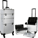 Ver Beauty VT002-24 Silver Smooth Pattern 4-Wheels Professional Rolling Aluminum Cosmetic Makeup Case and Easy-Slide & Extendable Trays with Dividers - VT002