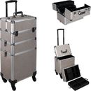Ver Beauty VT003-510 Beige Glitter 4-Wheels Detachable Professional Rolling Aluminum Cosmetic Makeup Case Extendable and Removable Trays with Dividers - VT003