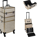 Ver Beauty VT003-511 Champagne Glitter 4-Wheels Detachable Professional Rolling Aluminum Cosmetic Makeup Case Extendable and Removable Trays with Dividers - VT003