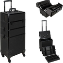 Ver Beauty VT003-51 Black Glitter 4-Wheels Detachable Professional Rolling Aluminum Cosmetic Makeup Case Extendable and Removable Trays with Dividers - VT003