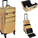 Ver Beauty VT003-57 Gold Glitter 4-Wheels Detachable Professional Rolling Aluminum Cosmetic Makeup Case Extendable and Removable Trays with Dividers - VT003
