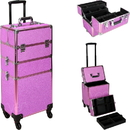 Ver Beauty VT003-59 Magenta Glitter 4-Wheels Detachable Professional Rolling Aluminum Cosmetic Makeup Case Extendable and Removable Trays with Dividers - VT003