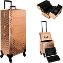 Ver Beauty VT003-85 Rose Gold Diamond 4-Wheels Detachable Professional Rolling Aluminum Cosmetic Makeup Case Extendable and Removable Trays with Dividers - VT003