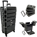 Ver Beauty VT014-42 Black Krystal 3-Tiers Accordion Trays Professional Rolling Aluminum Cosmetic Makeup Case And Stackable Trays With Dividers - VT014