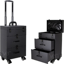 Ver Beauty VT015-32 Black Leatherette 4-Wheels Nail Artist Pro Rolling Case with 2 Drawers, Foundation holder and Clear Pouch - VT015