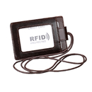 GOGO RFID Blocking Genuine Leather Vertical Badge Card Holder Wallet for Offices ID & Credit cards