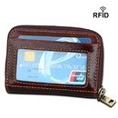 Opromo RFID Blocking Accordion Credit Card Small Oil Wax Leather Wallet with ID Window