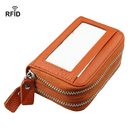 Opromo Women's Leather Credit Card Case Holder Accordion RFID wallet with ID window Mini Purse Double Zipper