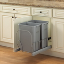 KV Soft Close Bottom Mount Waste Bins double bin 35qt platinum