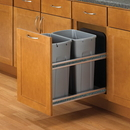 KV Soft Close Door Mount 2-50QT Bins Platinum