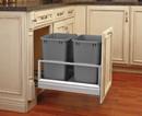 Rev-A-Shelf 5149-1527DM-217 5149-1527DM-217  Door Mount Waste Pull Out w/Double 27qt Bins Silver