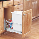 Rev-A-Shelf 5349-15DM-1 5349 Series Pull Out Waste Bins single bin 35qt white 21