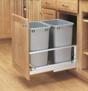 Rev-A-Shelf 5349 Series Pull Out Waste Bins double bin 35qt silver 21