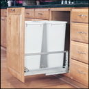 Rev-A-Shelf 5349 Series Pull Out Waste Bins double bin 50qt white 21