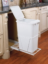 Rev-A-Shelf RV Series Pull Out Waste Bins single bin 50qt w/lid full extension white