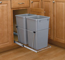 Rev-A-Shelf RV-15KD-17C-S RV Series Pull Out Waste Bins double bin 27qt full extension silver