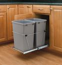 Rev-A-Shelf RV-18KD-17C-S RV Series Pull Out Waste Bins double bin 35qt full extension silver