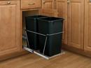 Rev-A-Shelf RV-18KD-18C-S RV Series Pull Out Waste Bins double bin 35qt full extension black