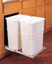 Rev-A-Shelf RV-18PB-2-S RV Series Pull Out Waste Bins double bin 35qt full extension white