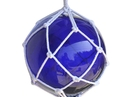 Handcrafted Model Ships 12 Blue Glass - NEW Blue Japanese Glass Ball Fishing Float With White Netting Decoration 12