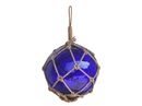 Handcrafted Model Ships 12 Blue Glass - Old Blue Japanese Glass Ball Fishing Float With Brown Netting Decoration 12