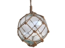 Handcrafted Model Ships 12 Clear Glass - Old Clear Japanese Glass Ball Fishing Float With Brown Netting Decoration 12