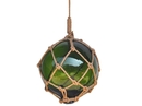 Handcrafted Model Ships 12 Green Glass - Old Green Japanese Glass Ball Fishing Float With Brown Netting Decoration 12
