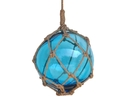 Handcrafted Model Ships 12 Light Blue Glass - Old Light Blue Japanese Glass Ball Fishing Float With Brown Netting Decoration 12