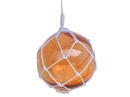 Handcrafted Model Ships 12 Orange Glass - NEW Orange Japanese Glass Ball Fishing Float With White Netting Decoration 12